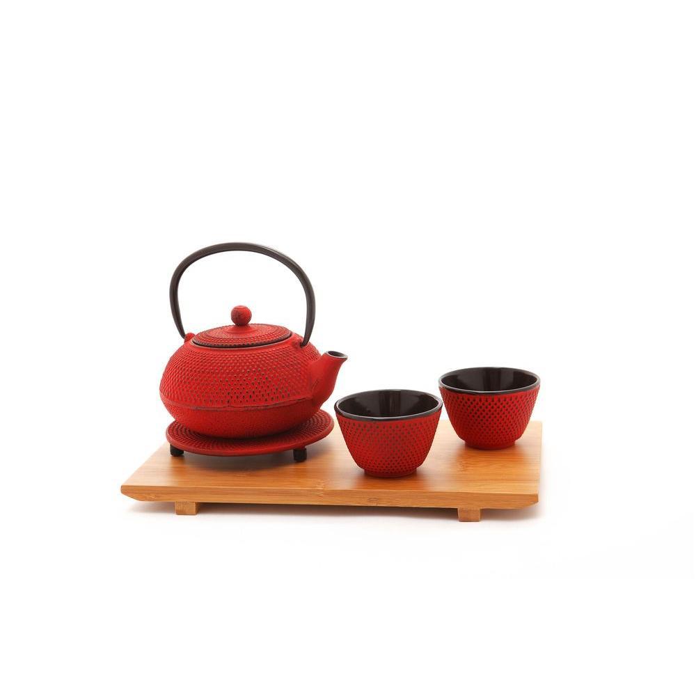 Old Dutch Cast Iron Tetsubin Tea Set in Red (5-Piece)-DISCONTINUED