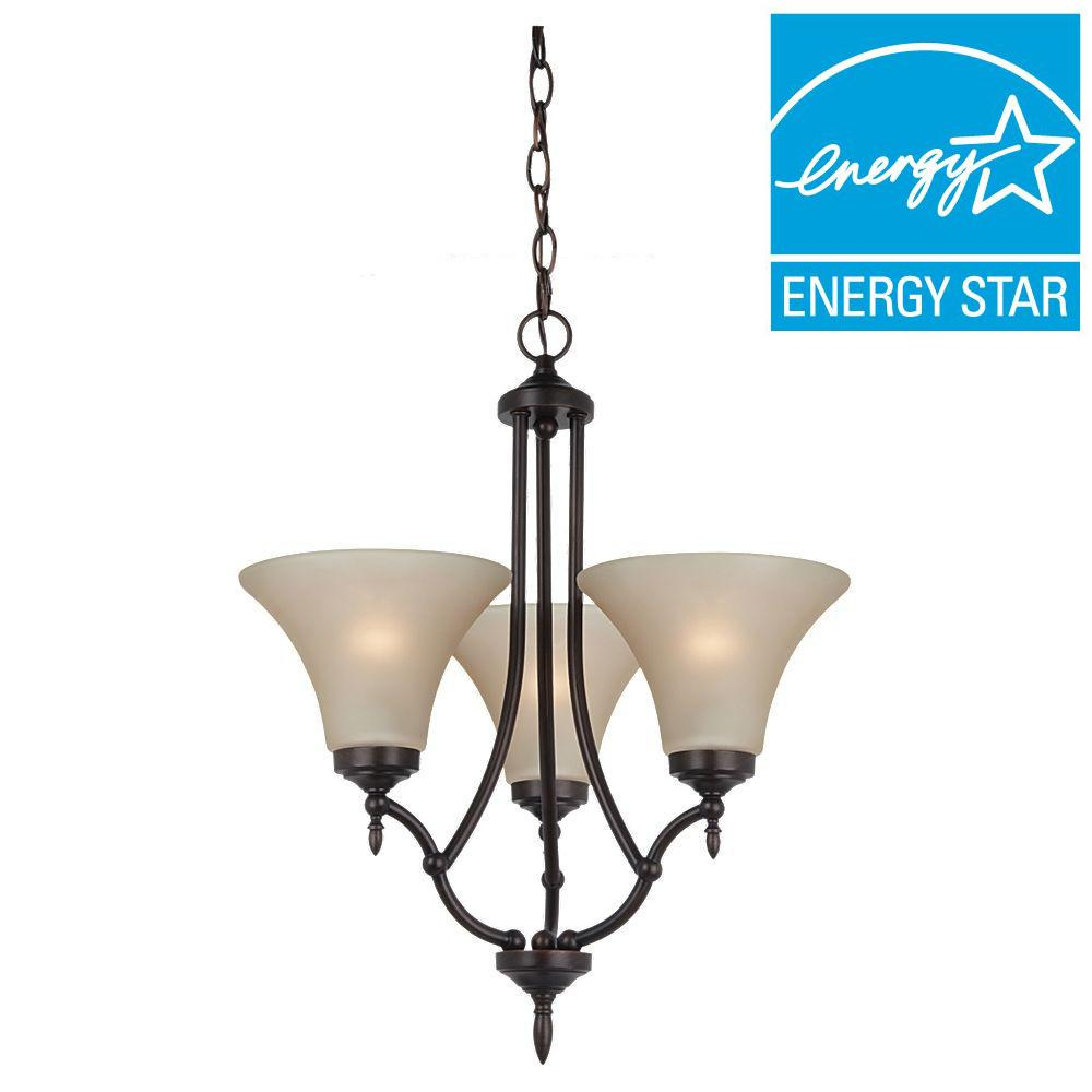 Sea Gull Lighting Montreal 3-Light Burnt Sienna Single-Tier Chandelier