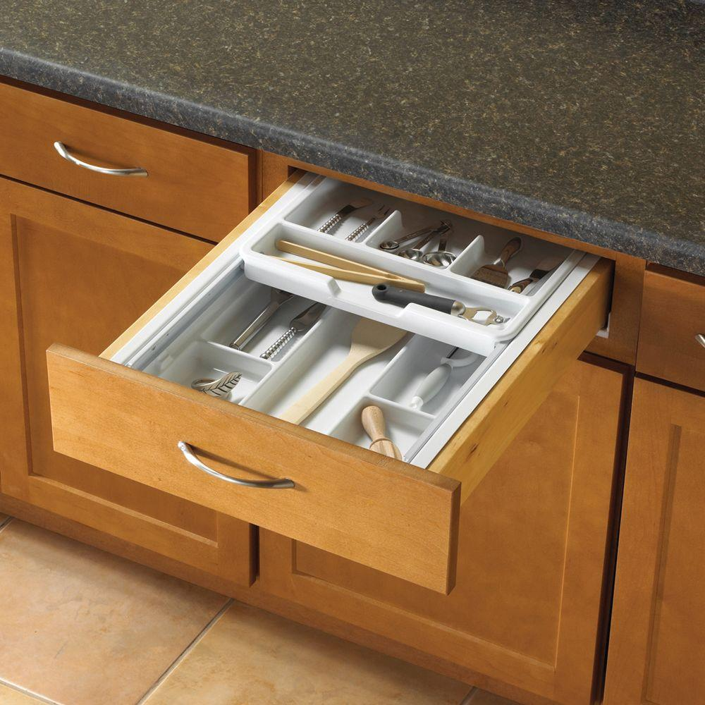 Knape & Vogt 19.75 in. x 3.75 in. x 18.75 in. Double Tiered Tableware Drawer Organizer