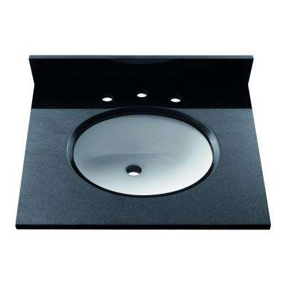 25 in. Granite Stone Vanity Top in Black without Basin