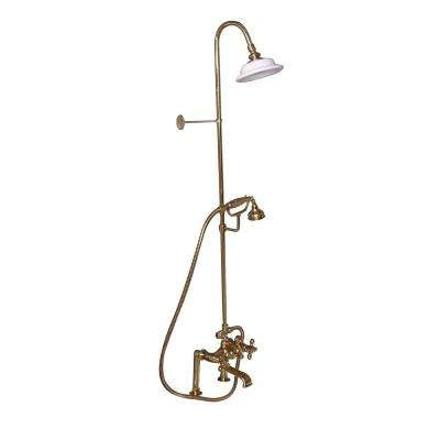 3-Handle Rim Mounted Claw Foot Tub Faucet with Riser, Hand Shower and Shower Head in Polished Brass
