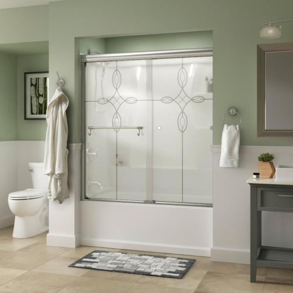 Portman 60 in. x 58-1/8 in. Semi-Frameless Traditional Sliding Bathtub Door in Chrome with Tranquility Glass