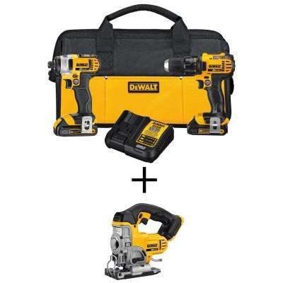20-Volt MAX Li-Ion Cordless Drill/Impact Combo Kit (2-Tool) with Bonus 20-Volt Max Li-Ion Cordless Jig Saw (Tool-Only)