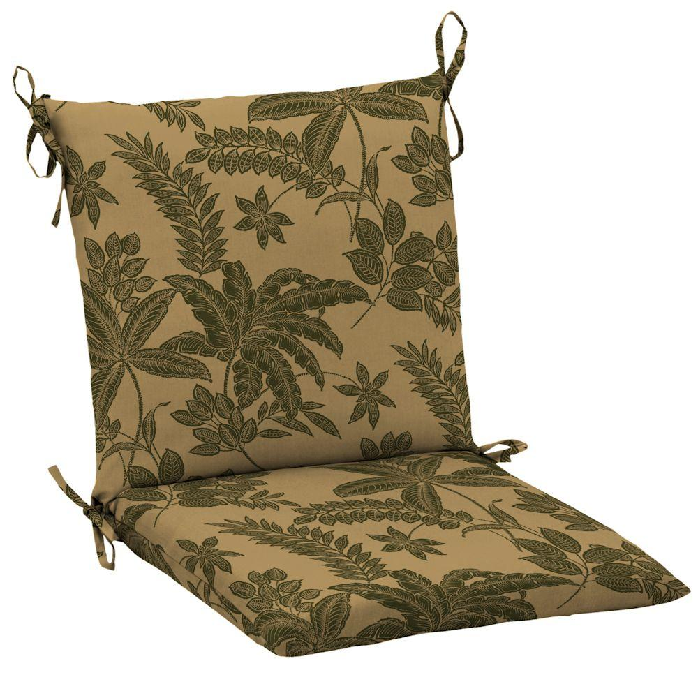 Hampton Bay Olive Botanical Mid Back Chair Cushion-DISCONTINUED