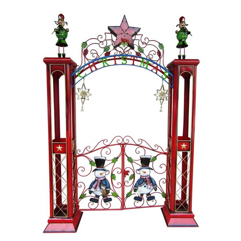 Christmas Gate with Arch and LED Lights