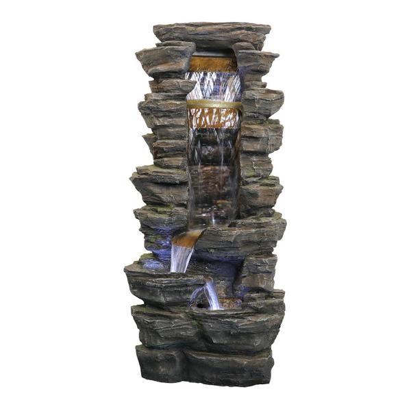 40 in. High Rockery Shower Outdoor Water Cascade Fountain with LED Lights