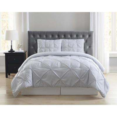 Everyday Stripe Pleat Grey Full/Queen Comforter with 2-Shams