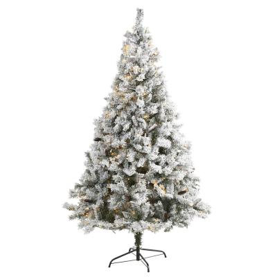 7 ft. White Pre-Lit Flocked River Mountain Pine Artificial Christmas Tree with Pine Cones and 350 LED Lights