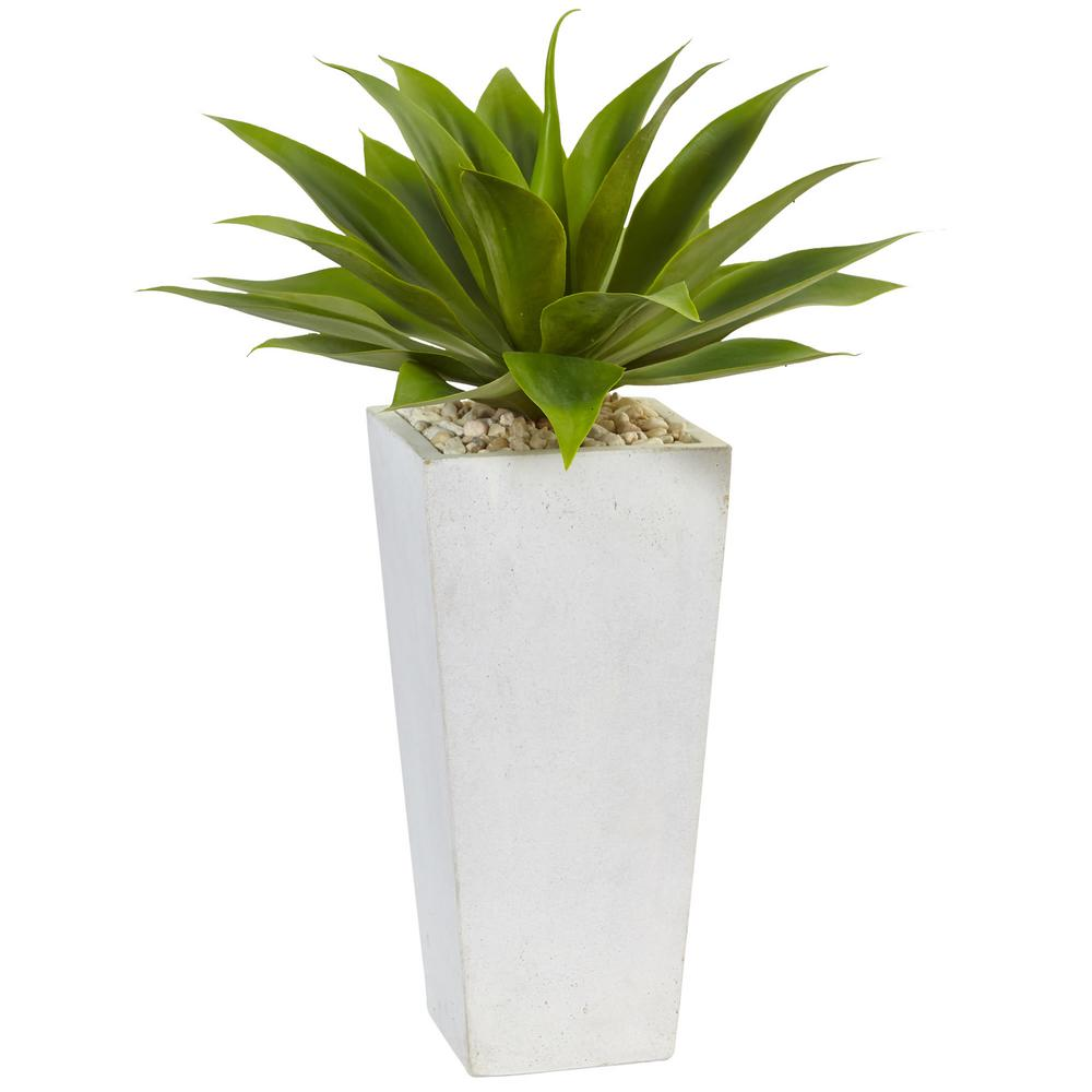 Nearly Natural Indoor Agave Artificial Plant In White Planter 6950 The Home Depot