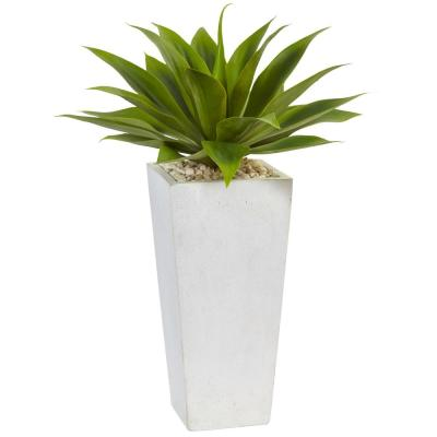 Indoor Agave Artificial Plant in White Planter