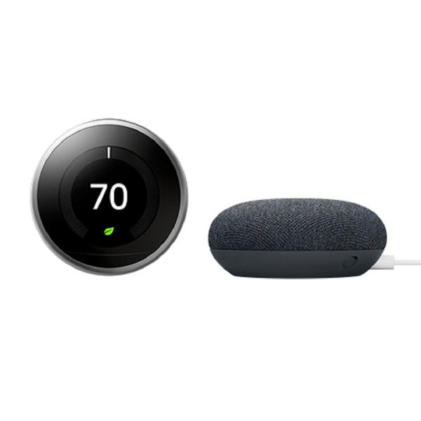 Nest Learning Thermostat 3rd Gen Stainless Steel + Nest Mini (2nd Gen) Smart Speaker Charcoal