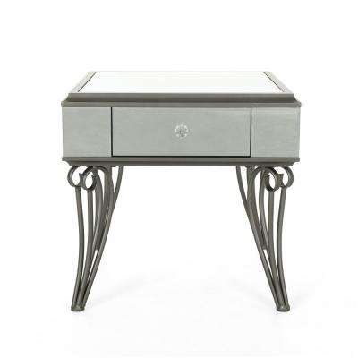 Helenius Modern Mirrored Accent Table with Black Iron Frame