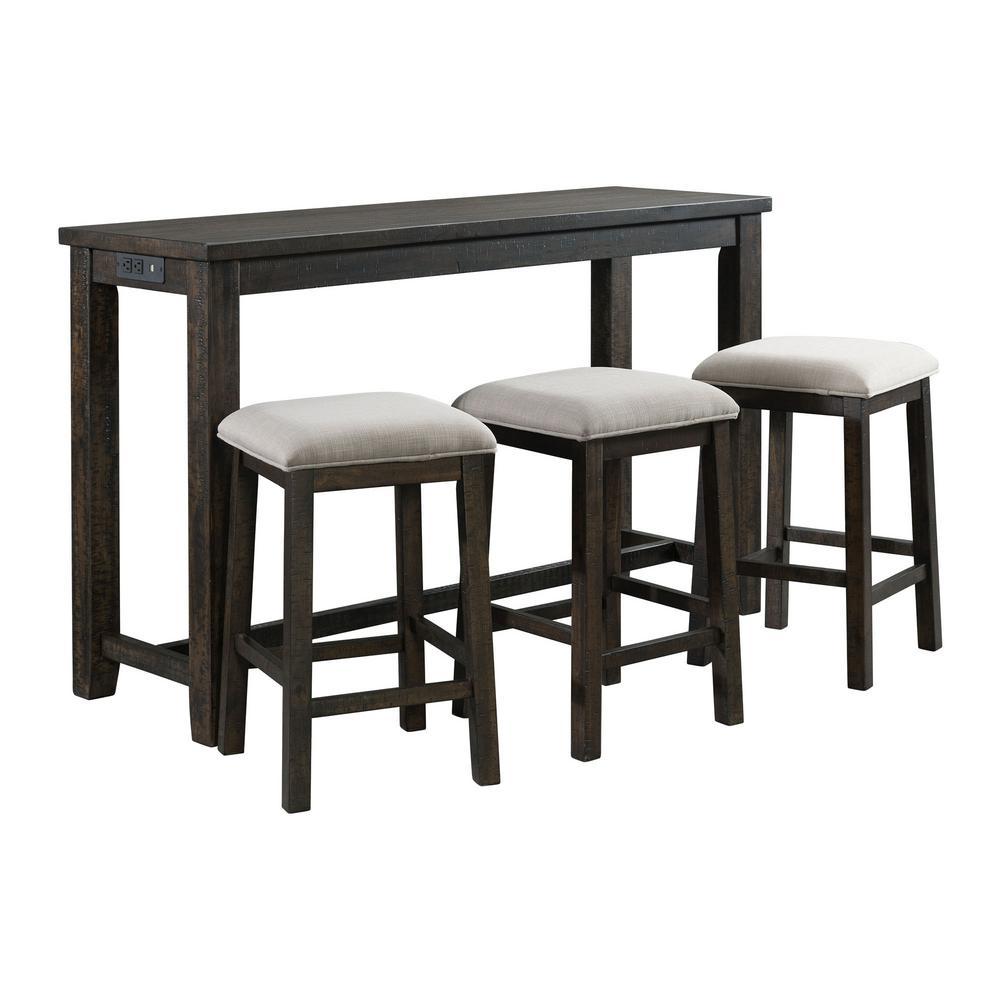 Steele 4-Piece Smokey Walnut Bar Table Set