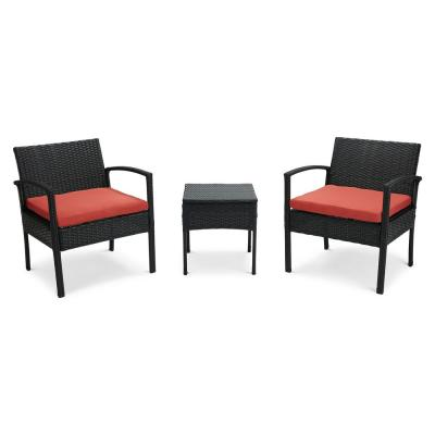 3-Pieces Wicker Conversation Set with Red Cushion