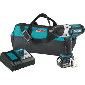 Makita 18-Volt LXT Lithium-Ion Cordless 1/2 inch Impact Wrench Kit with (1) Battery 3.0Ah, Charger, Tool Bag by Makita