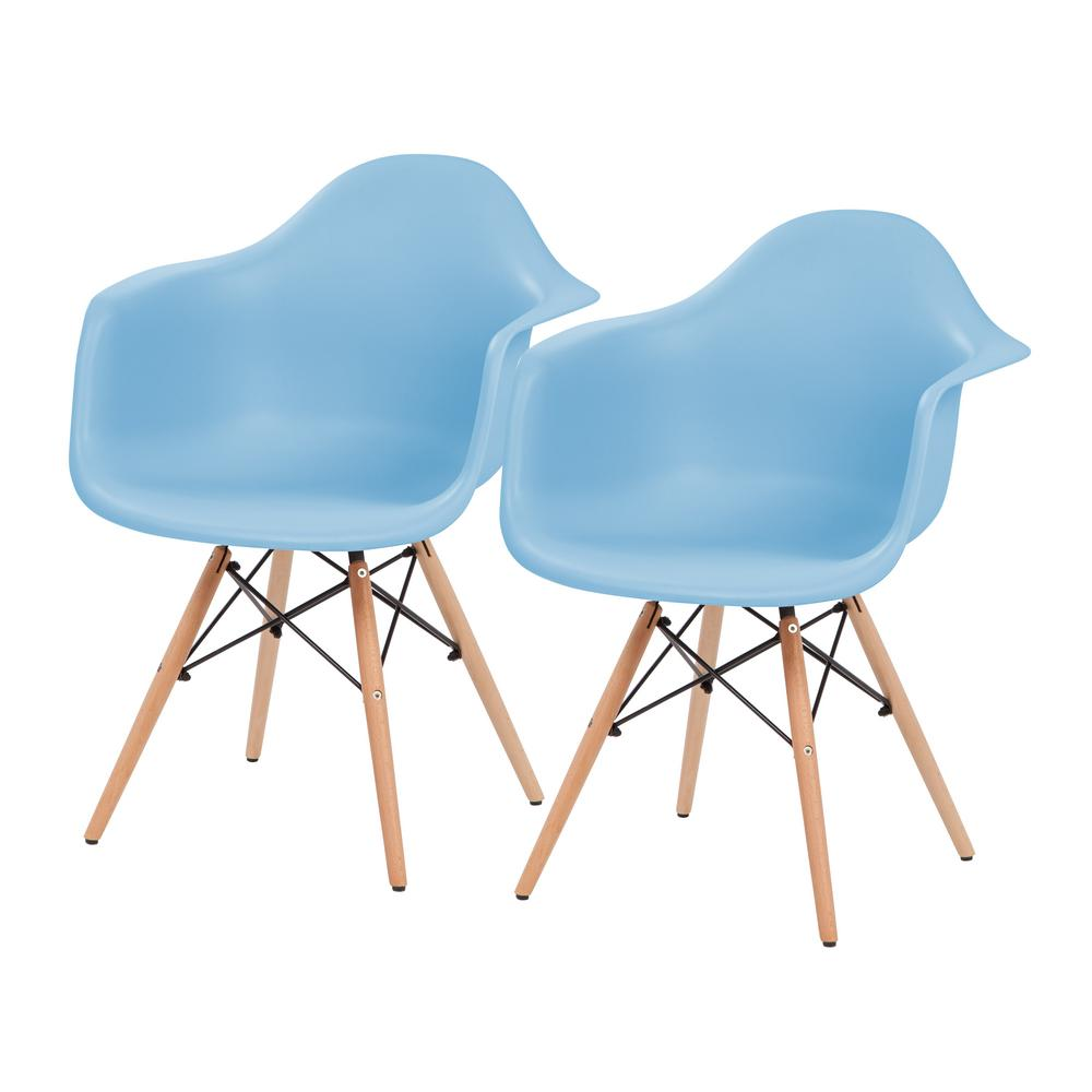 Blue Plastic Shell Chair with Arm Rest (Set of 2)