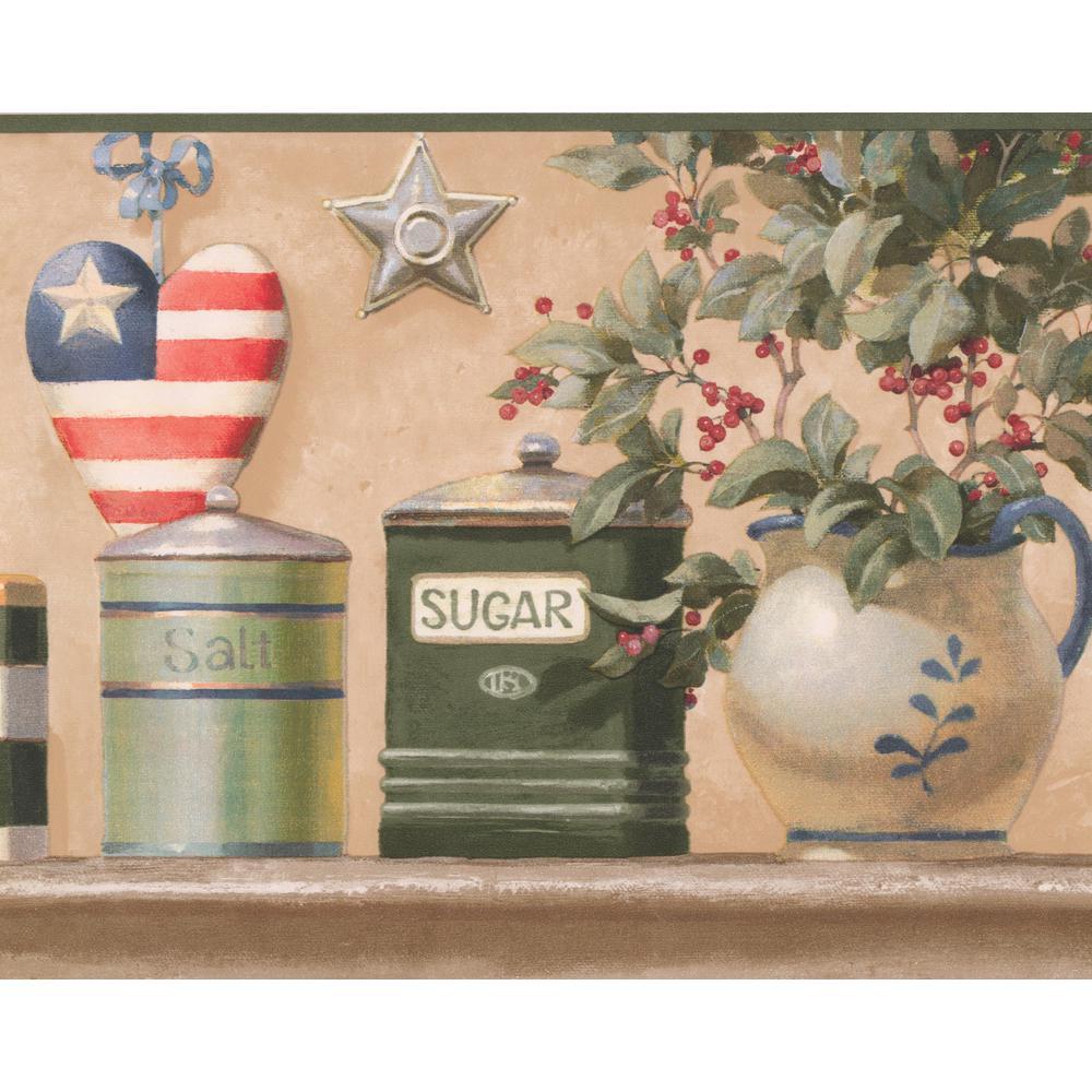 Retro Art American Kitchen Crops Floral Design Prepasted Wallpaper