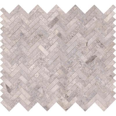 Silver Travertine Herringbone 12 in. x 12 in. x 10mm Honed Travertine Mesh-Mounted Mosaic Tile (10 sq. ft. / case)