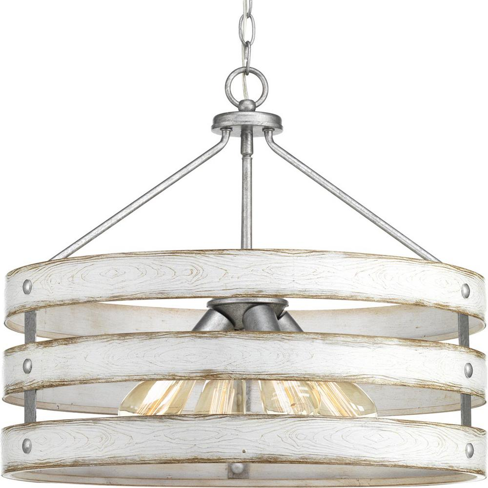 Progress Lighting Gulliver 4 Light Galvanized Drum Pendant With Weathered White Wood Accents