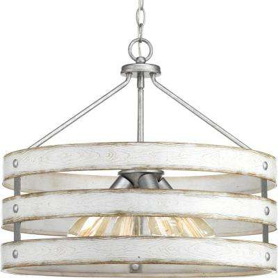 Gulliver 4 Light Galvanized Drum Pendant With Weathered White Wood Accents