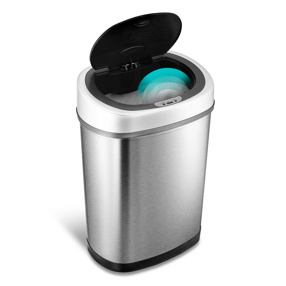 Nine Stars 11 1 Gal Stainless Steel Motion Sensing Touchless Trash Can