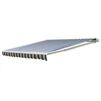 20 ft. 7000 Series Motorized Retractable Awning (122 in. Projection) in Mediterranean/canvas block stripe