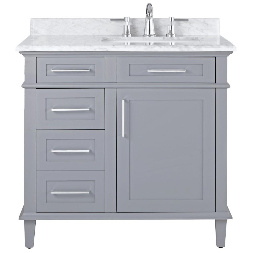 home decorators collection sonoma 36 in w x 22 in d bath vanity in pebble grey with carrara. Black Bedroom Furniture Sets. Home Design Ideas