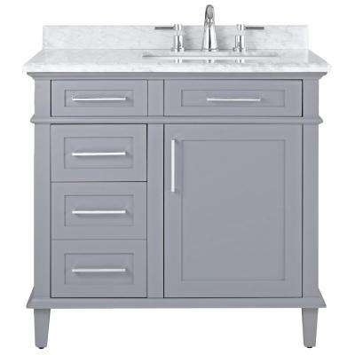 Sonoma 36 in. W x 22 in. D Bath Vanity in Pebble Grey with Carrara Marble Top with White Basins