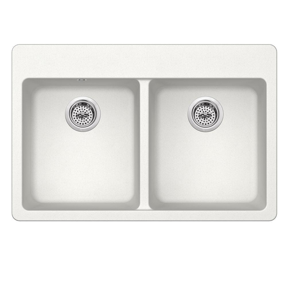 Dual Mount Quartz 33 in. 50/50 Double Bowl Kitchen Sink in Alpine White