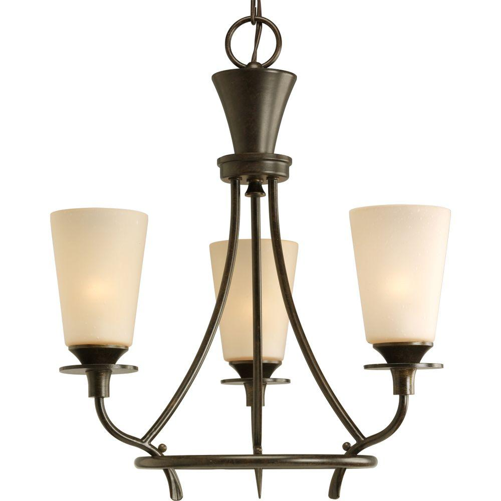 Progress Lighting Cantata 3-Light Forged Bronze Chandelier with Seeded Topaz Glass