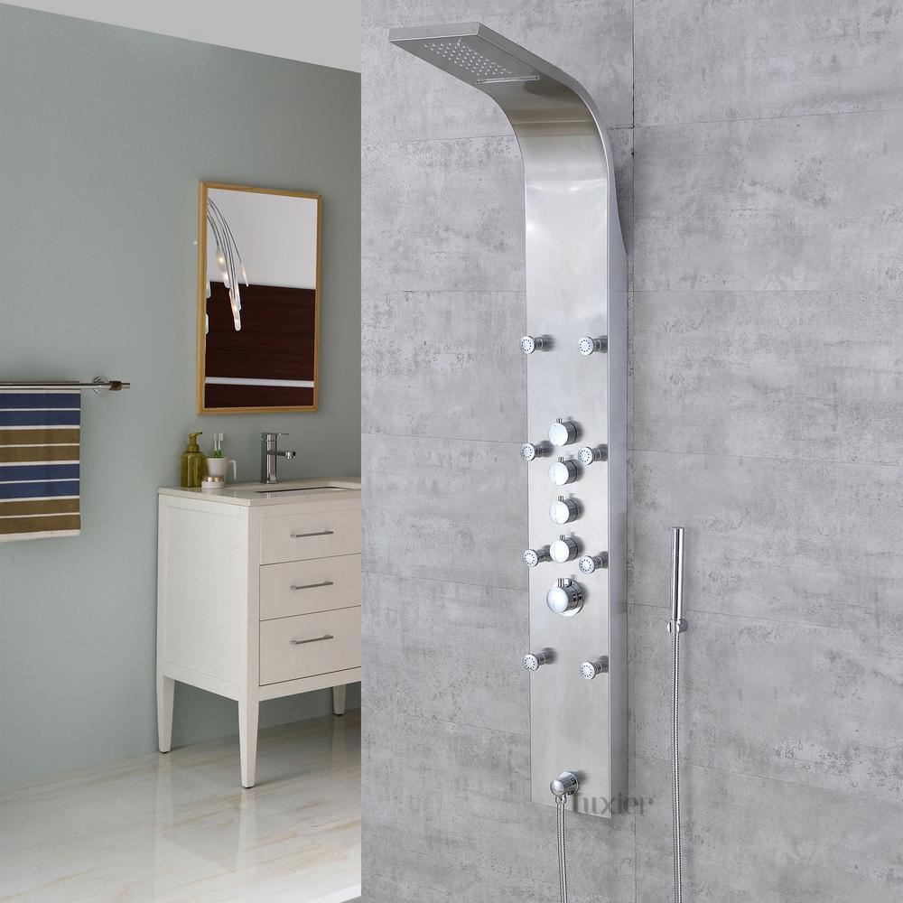 Stainless steel rainfall waterfall shower panel tower rain massage system pressure