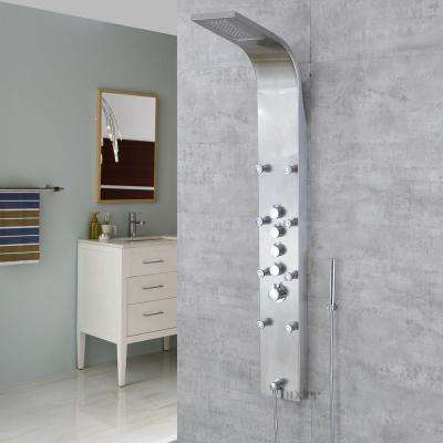 61 in. Stainless Steel Rainfall Waterfall Shower Panel Tower Rain Massage System Pressure-balanced Faucet with Jets