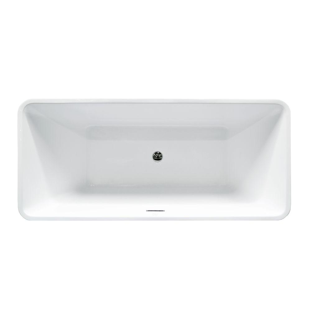 Center Drain Soaking Tub In White