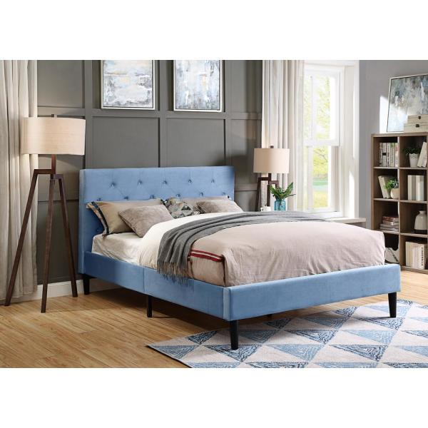 Furniture of America Jukes Light Blue Twin Flannelette Upholstered Bed