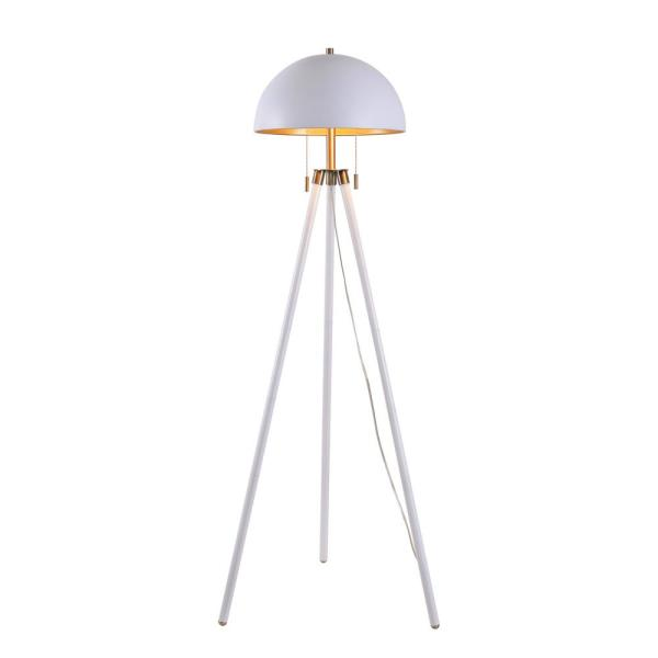 Bjorn 59 in. White Tripod Floor Lamp with Gold Interior Shade