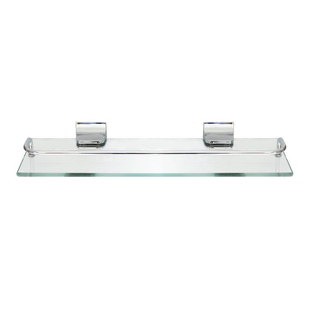13.75 in. Glass Wall Shelf with Pre-Installed Rail in Polished Chrome