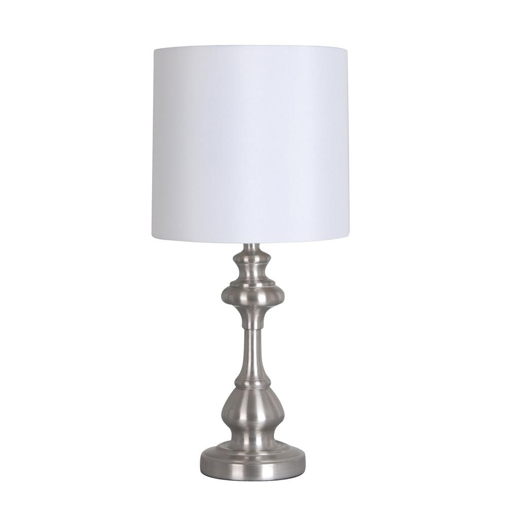 18.75 in. Silver Candlestick Accent Lamp with White Shade