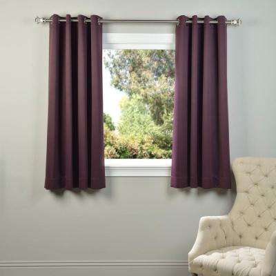 Semi-Opaque Aubergine Purple Grommet Blackout Curtain - 50 in. W x 63 in. L (Panel)