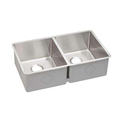 Crosstown Undermount Stainless Steel 32 in. Double Bowl Kitchen Sink
