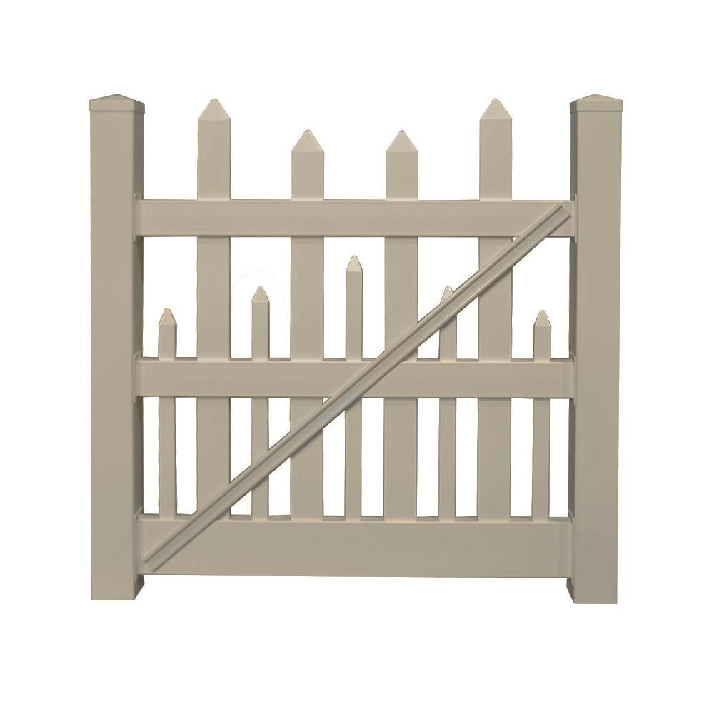 Salem 4 ft. W x 4 ft. H Khaki Vinyl Picket Fence Gate