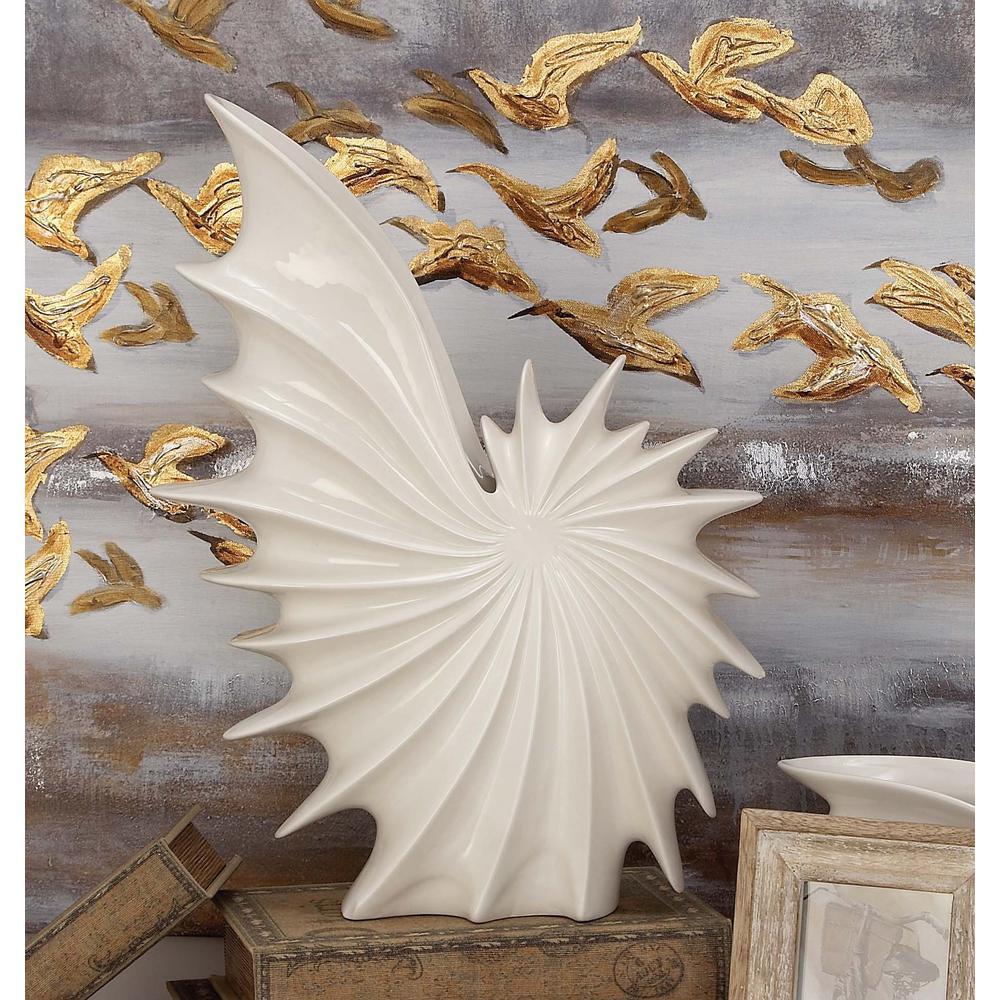 19 in. Ceramic Seashell Decorative Vase in White