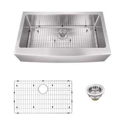 Apron Front 36 in. 16-Gauge Stainless Steel Single Bowl Kitchen Sink in Brushed Stainless