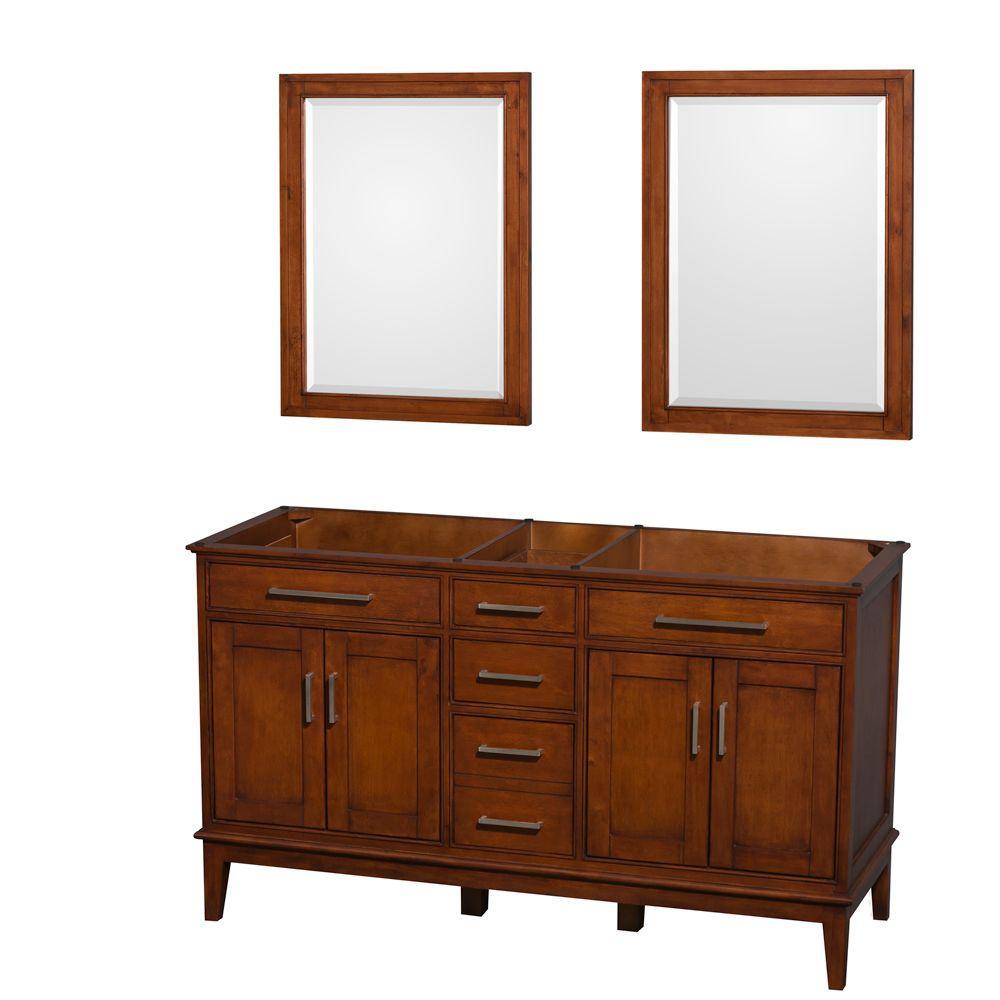 Hatton 59 in. Vanity Cabinet with Mirror in Light Chestnut