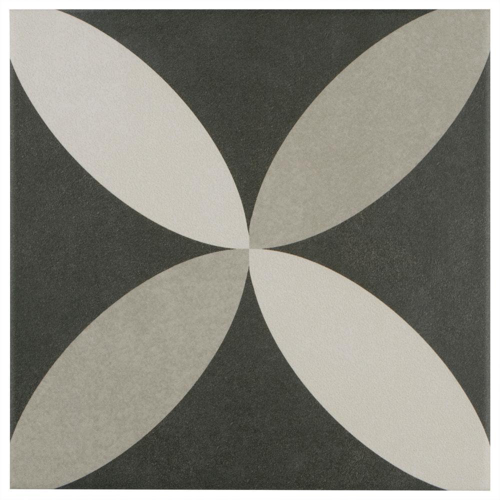 Merola Tile Twenties Petal Encaustic 7-3/4 in. x 7-3/4 in. Ceramic Floor and Wall Tile
