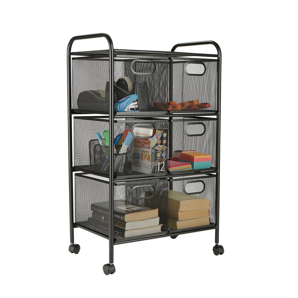 6 Drawer Office Cart, File Storage Cart, Utility Cart, Office Storage,  Heavy Duty Multi Purpose Cart In Black