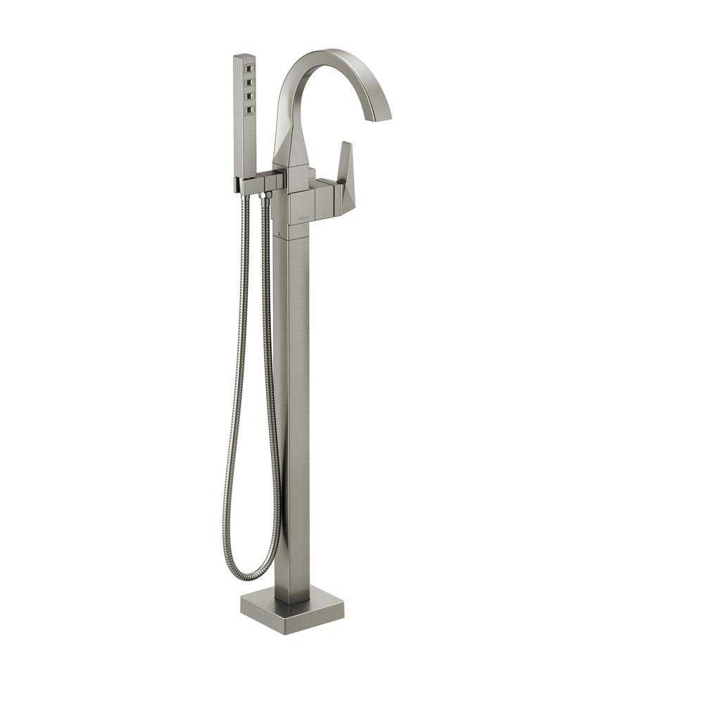 Trillian 1-Handle Floor-Mount Curved Tub Filler Trim Kit in Stainless with Hand Shower (Valve Not Included)