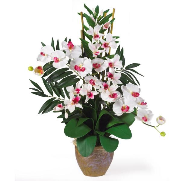 Nearly Natural 29 in. Double Phalaenopsis and Dendrobium Silk Flower Arrangement in White