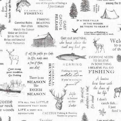 56.4 sq. ft. North Hills Black Camping Quotes Wallpaper