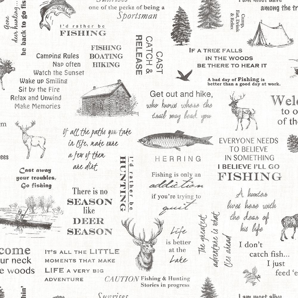 56.4 sq. ft. North Hills Black Camping Quotes Wallpaper