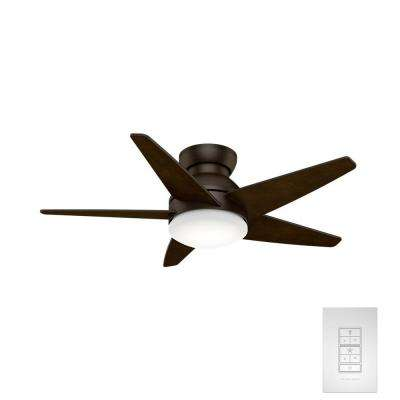 Isotope 44 in. Indoor Brushed Cocoa Ceiling Fan with Light and Wall Control